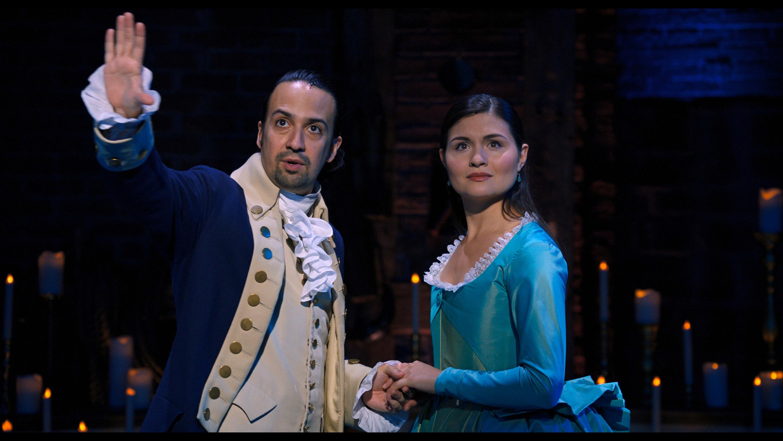 Lin-Manuel Miranda and Phillipa Soo as Hamilton and Eliza in Hamilton