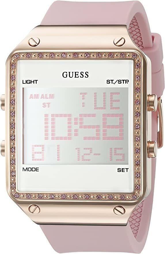 The watch with a pink band and jeweled square face