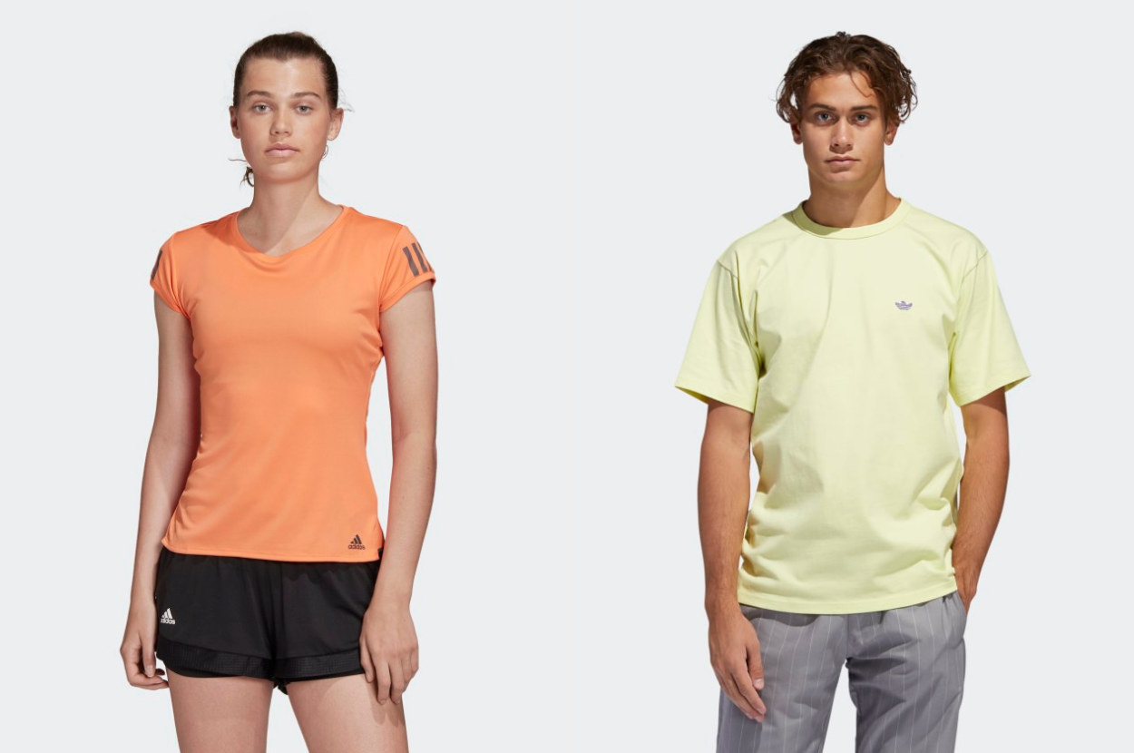 Two models, one wearing a light orange T-shirt, the other wearing a pale yellow t-shirt