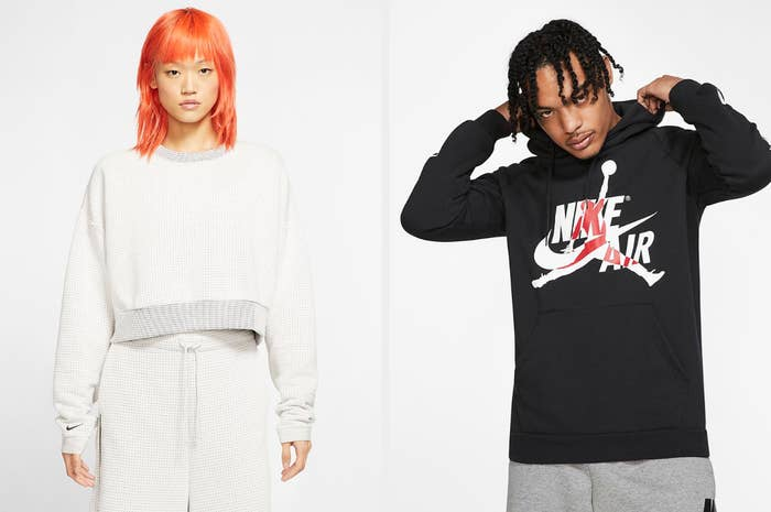 Two models, on the left wearing a white crew neck and on the right wearing a black Nike Air hooded sweatshirt