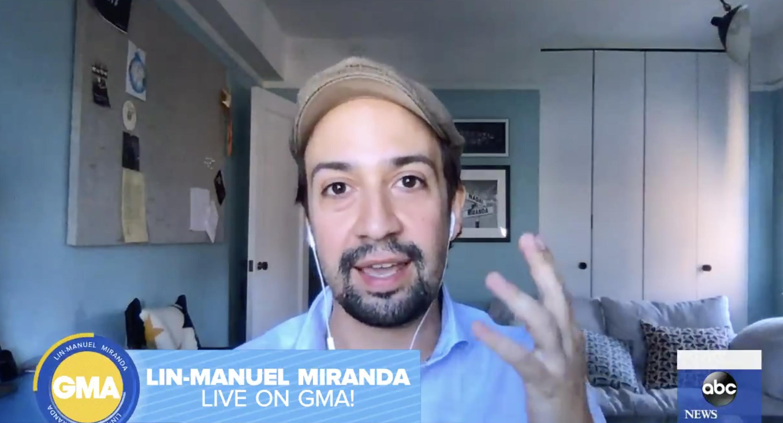 Lin-Manuel Miranda being interviewed on Good Morning America