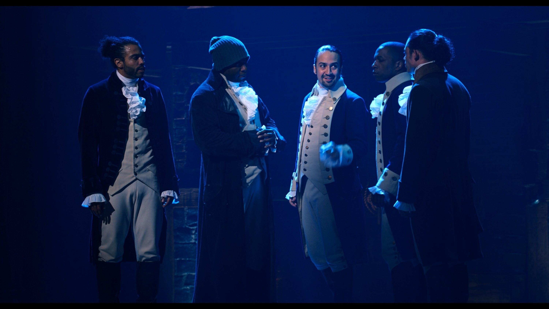 Hamilton talking to Marquis de Lafayette, Hercules Mulligan, Aaron Burr, and John Laurens in Hamilton