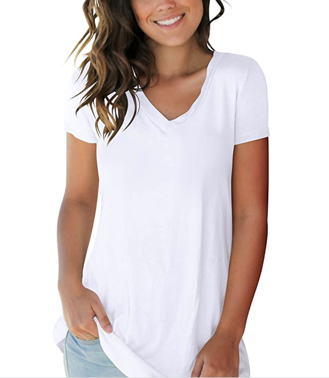 A model in a white v-neck tee