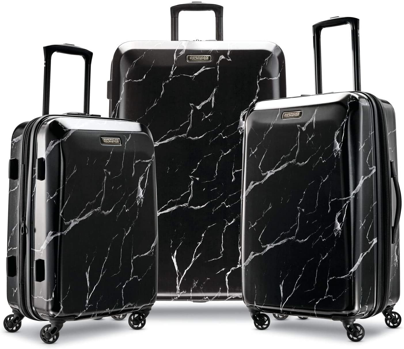 Black and white marble print luggage set, each in a different size