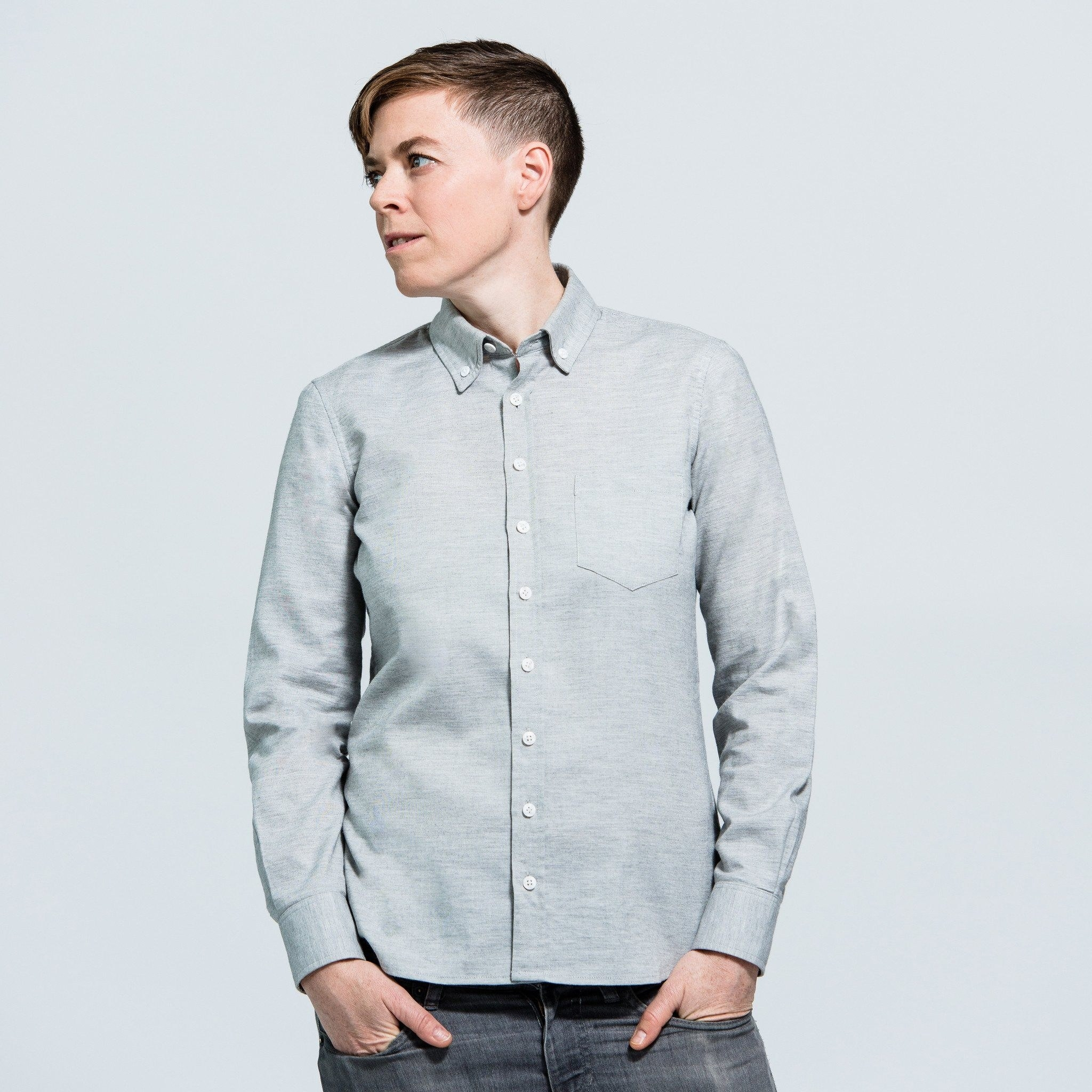 Kirrin Finch Stark Oxford shirt in gray colorway on model in studio