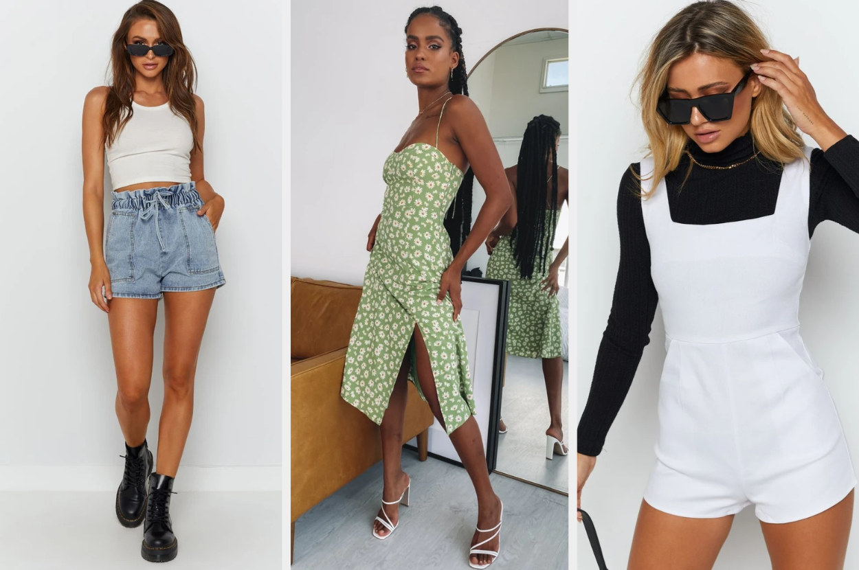 A triptych of models wearing denim shorts, a green floral dress, and a white jumper