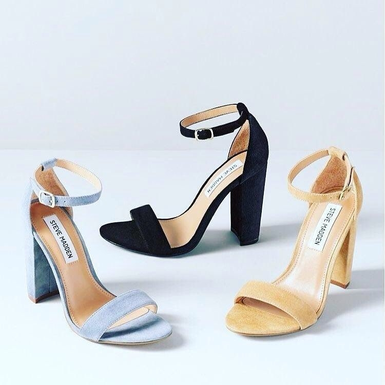 Three different styles of Steve Madden heeled sandals