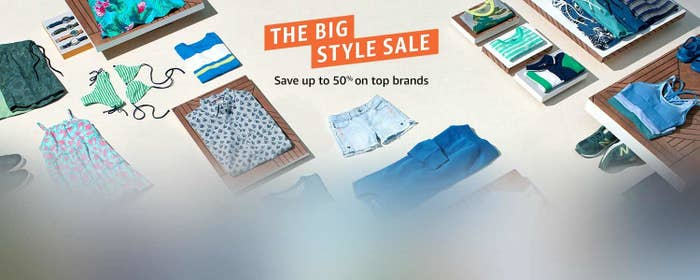 """The sale banner, with text """"Save up to 50% on top brands)"""