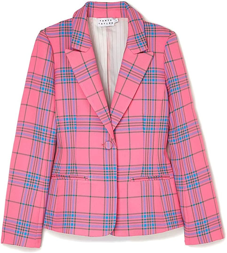 Flatlay of the pink blazer with blue and green plaid