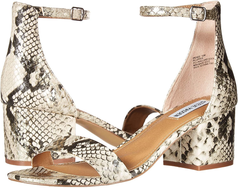 Snake print block heel sandals