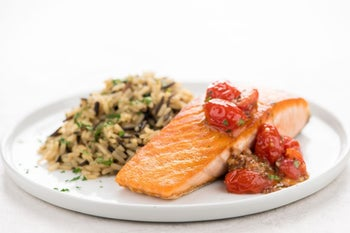 Salmon with Brown-Butter Tomato Relish