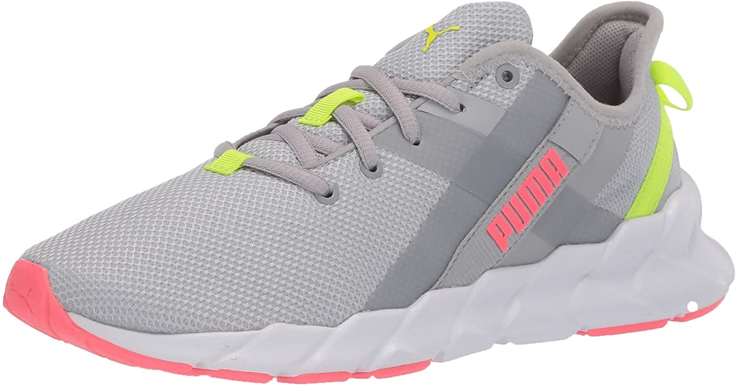 grey sneaker with pink and neon yellow accents