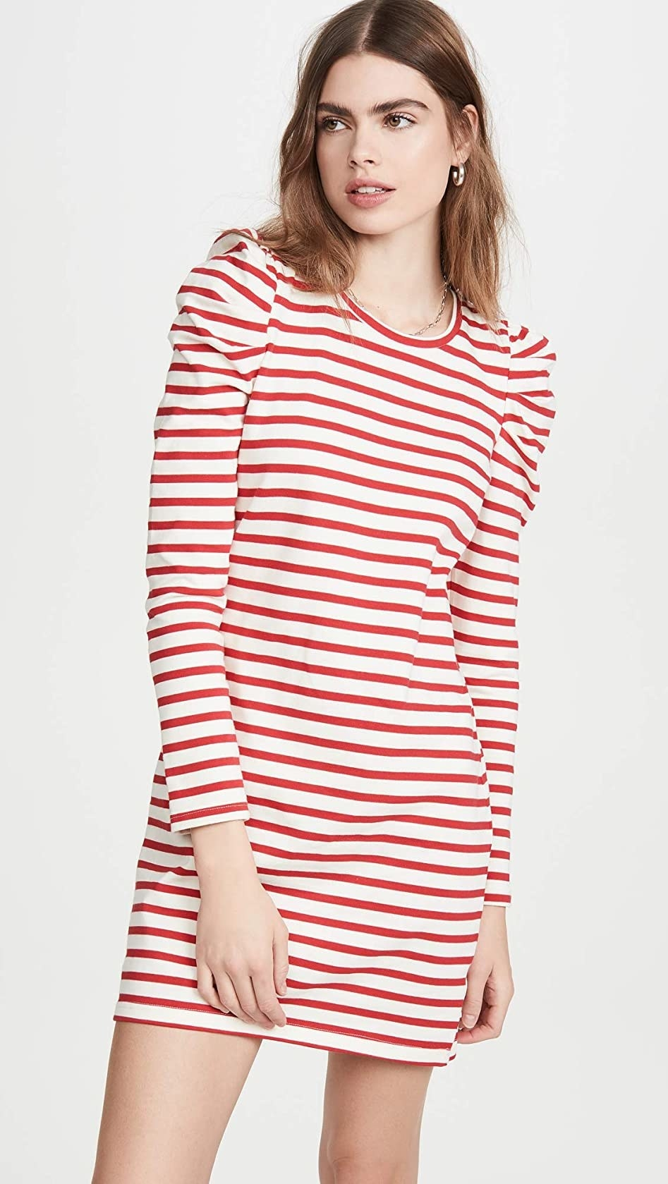 The red and white striped,  long-sleeved dress