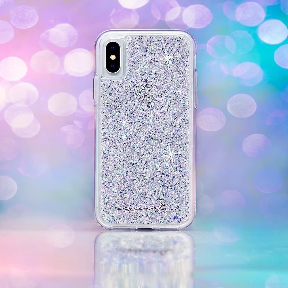 white and purple glitter on clear phone case