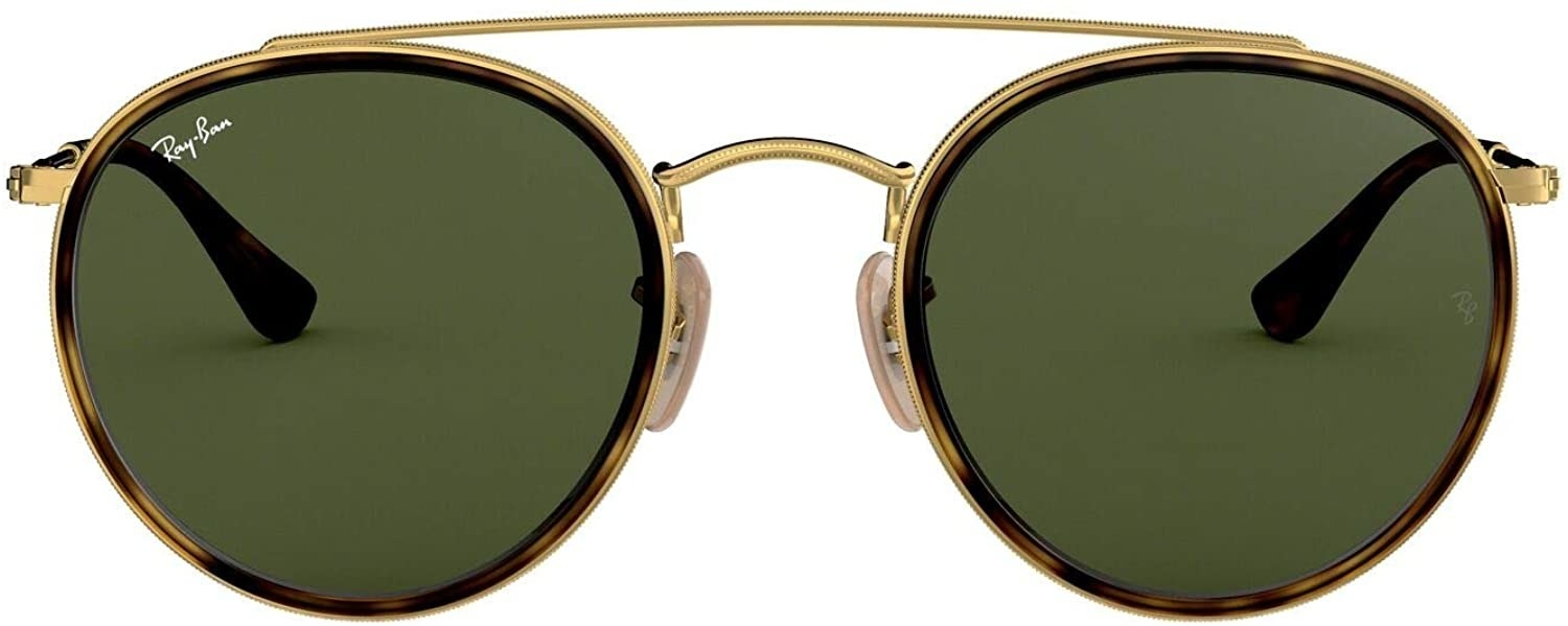 The Ray Bans with tortoiseshell and gold frames
