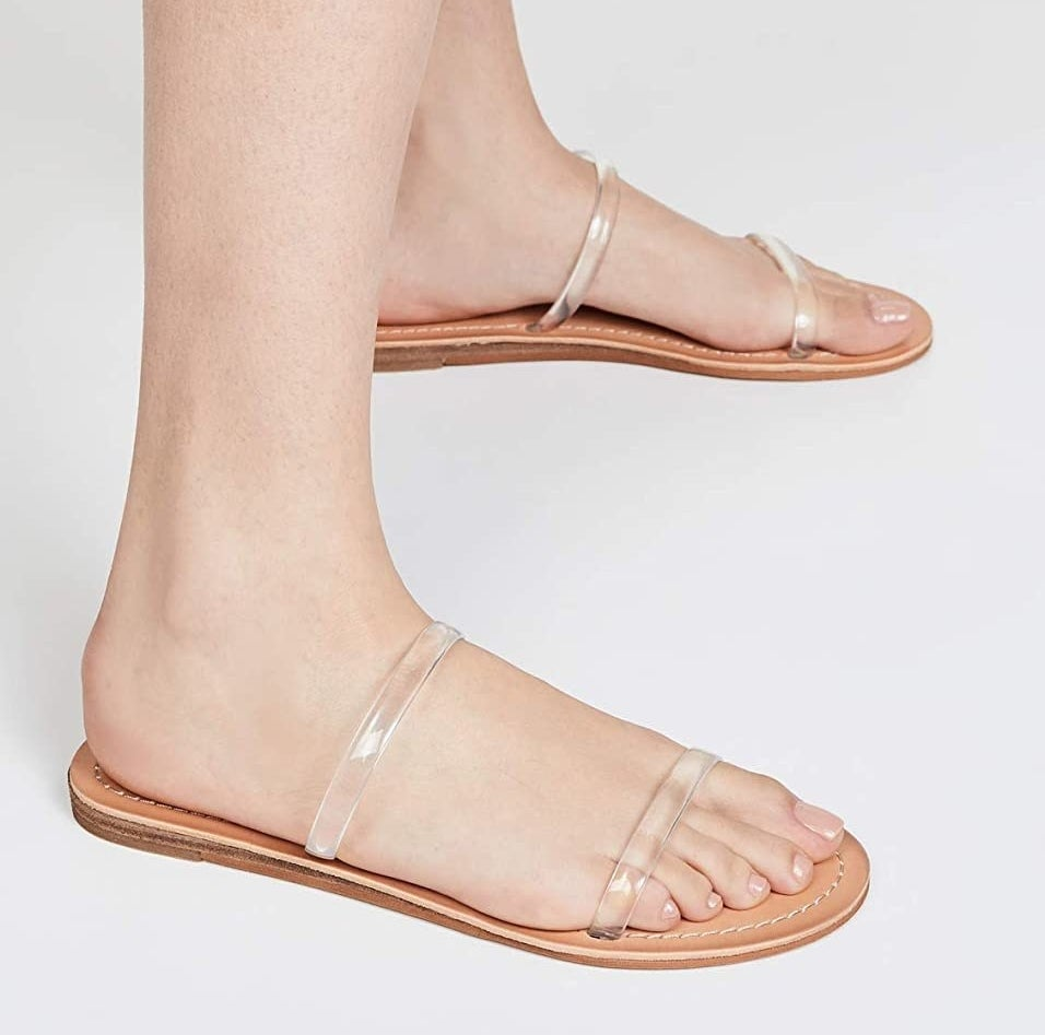 The slides with two transparent straps