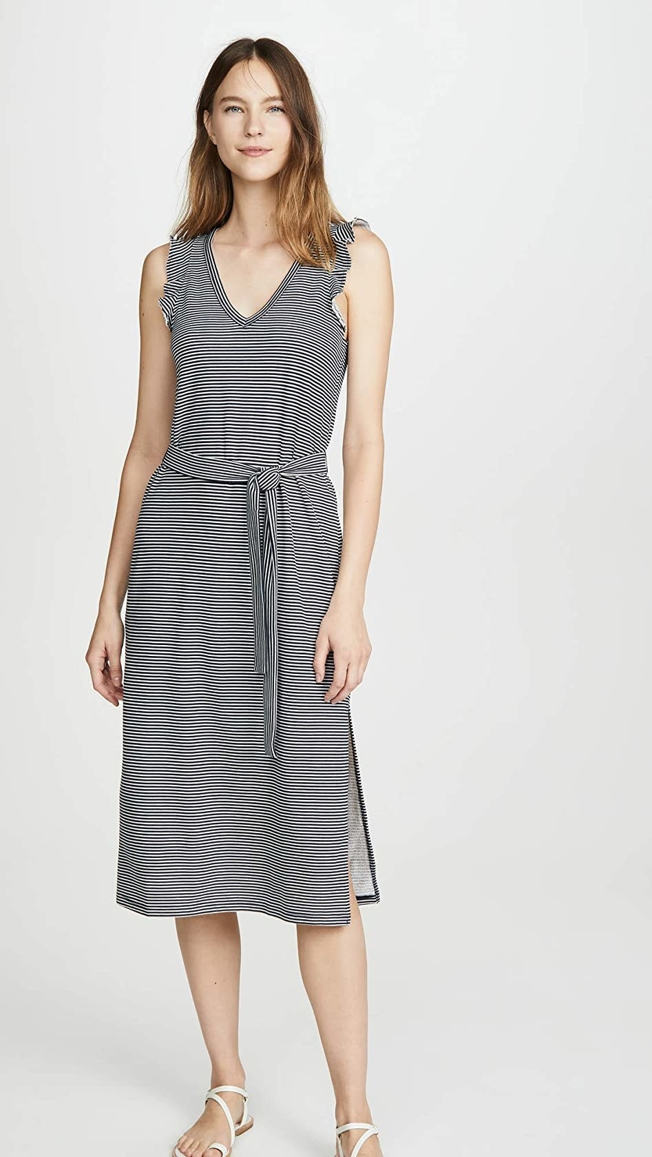 The sleeveless striped midi dress