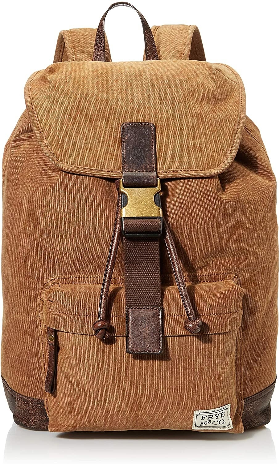 The tan backpack with a front zipped pouch, drawstring close, and buckle closure in dark brown