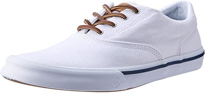 A sneaker with leather laces