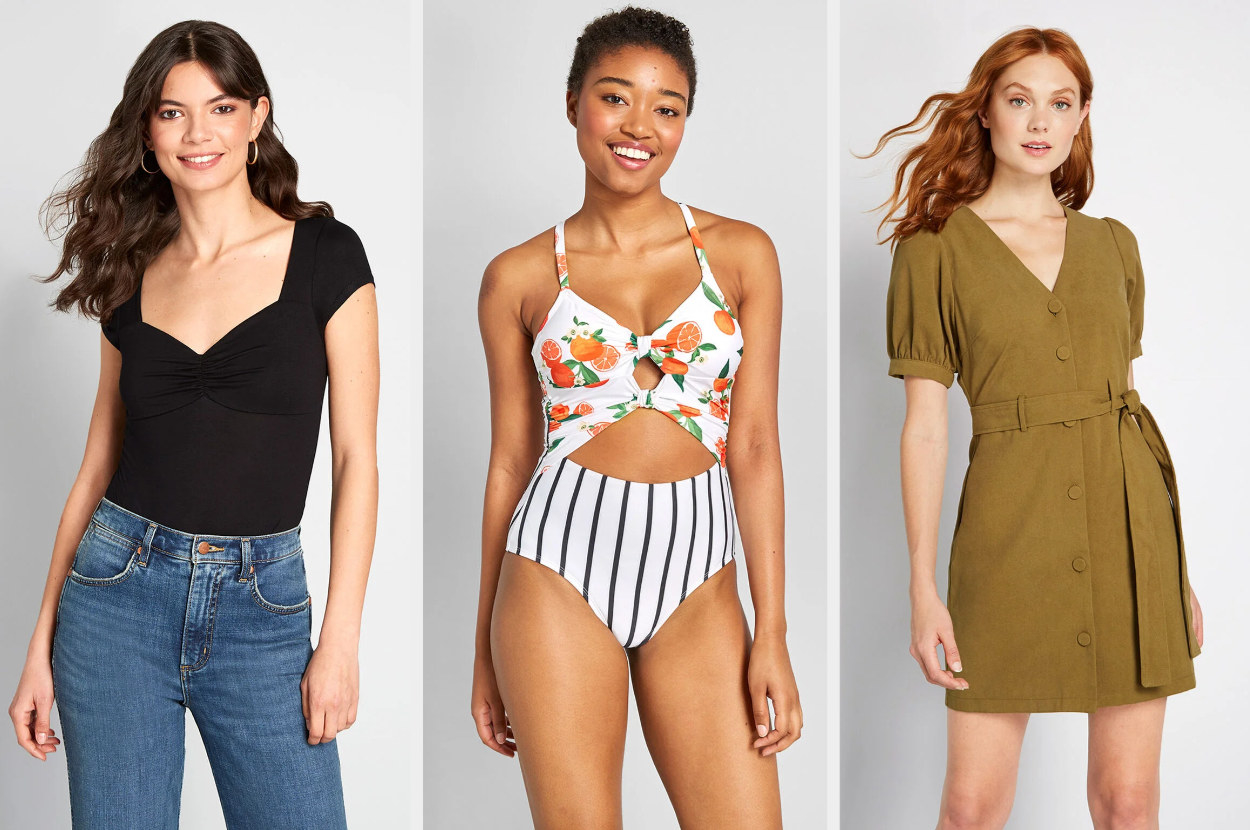 A triptych of models wearing a black bodysuit, an orange-patter and pinstripe swimsuit, and a khaki mini-dress.
