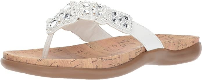 A single sandal with a sparkly band and a cork footbed with a rubber sole