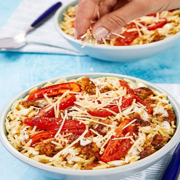 Orzo with chicken sausage and red peppers