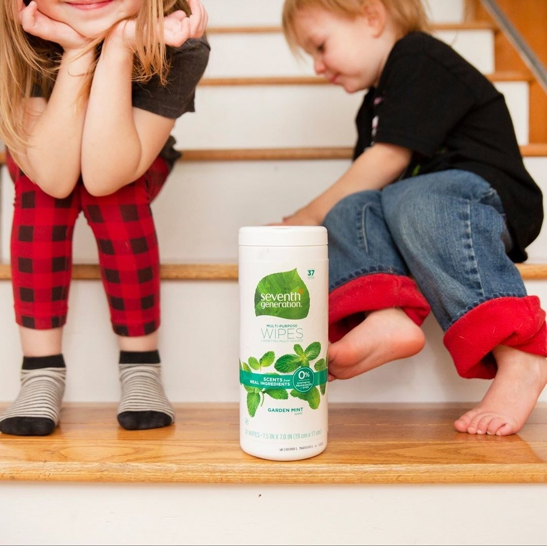 Two children are sitting on stairs next to a canister of the wipes.