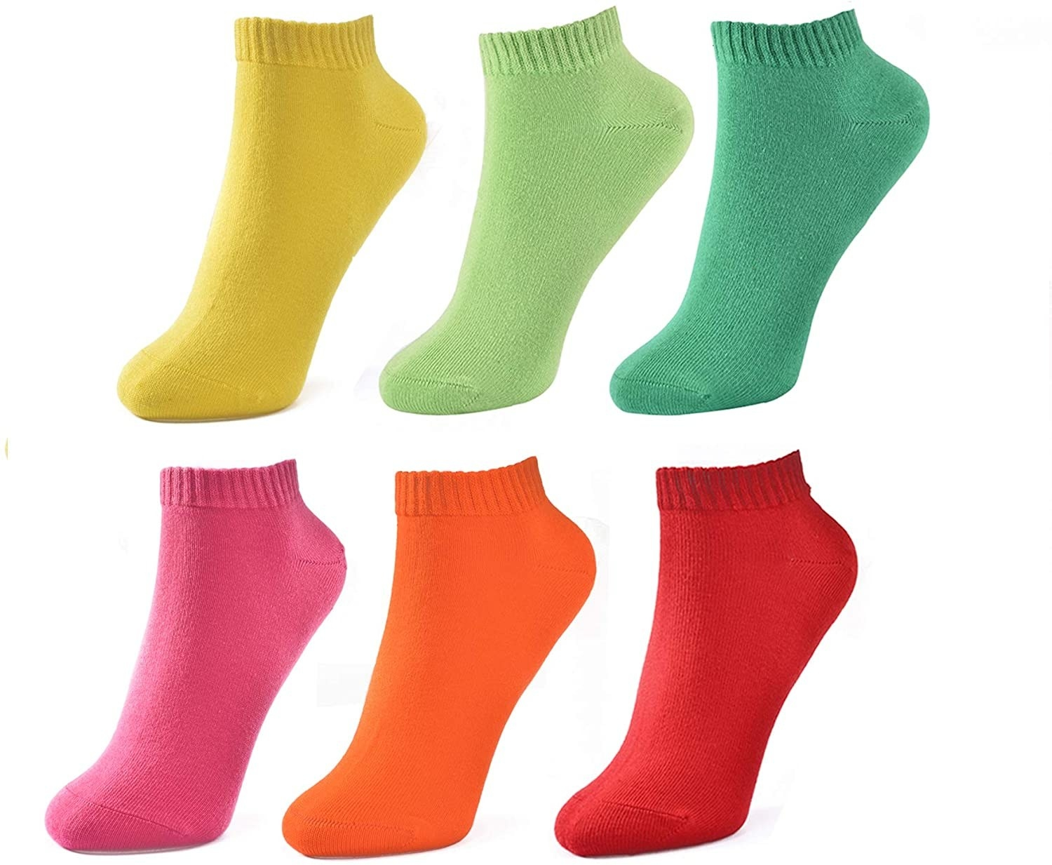 socks in yellow, lime green, dark green, hot pink, orange, and red
