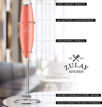 the frother in pink with explanations of what each part of the gadget is used for