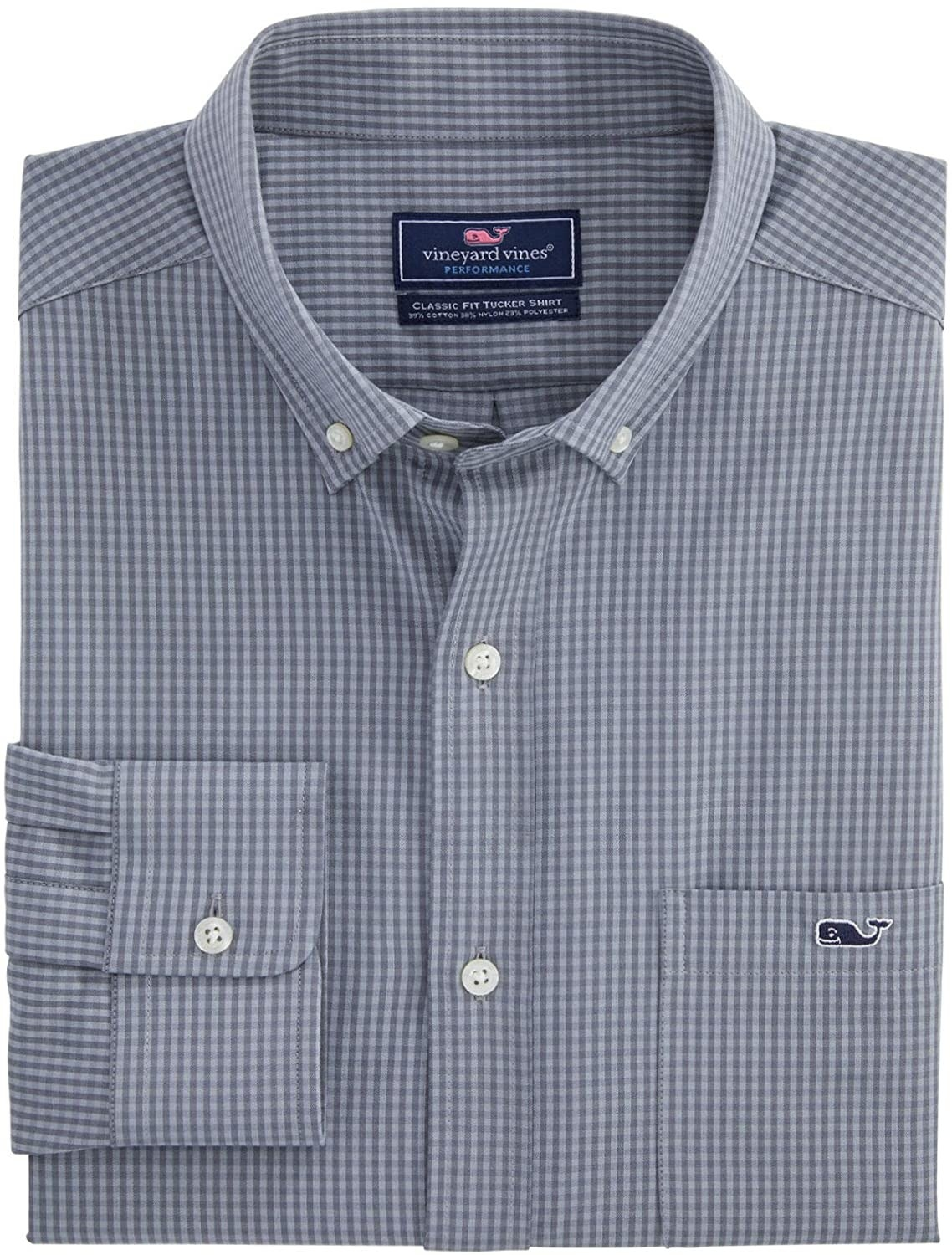 The shirt in grey with collar, white buttons down the front, and a pocket on the left side with a small whale logo on it