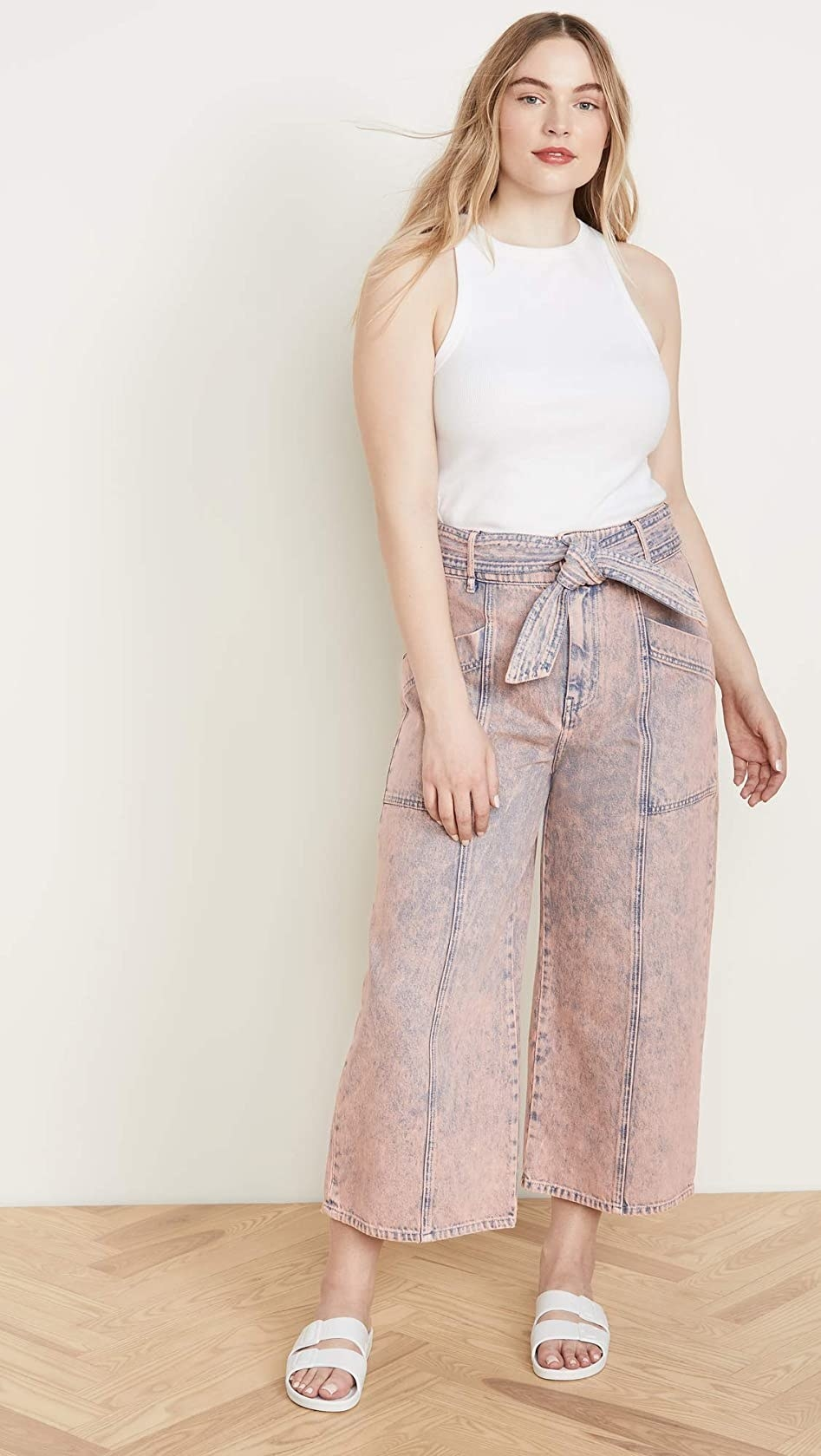 The pink wide-leg jeans