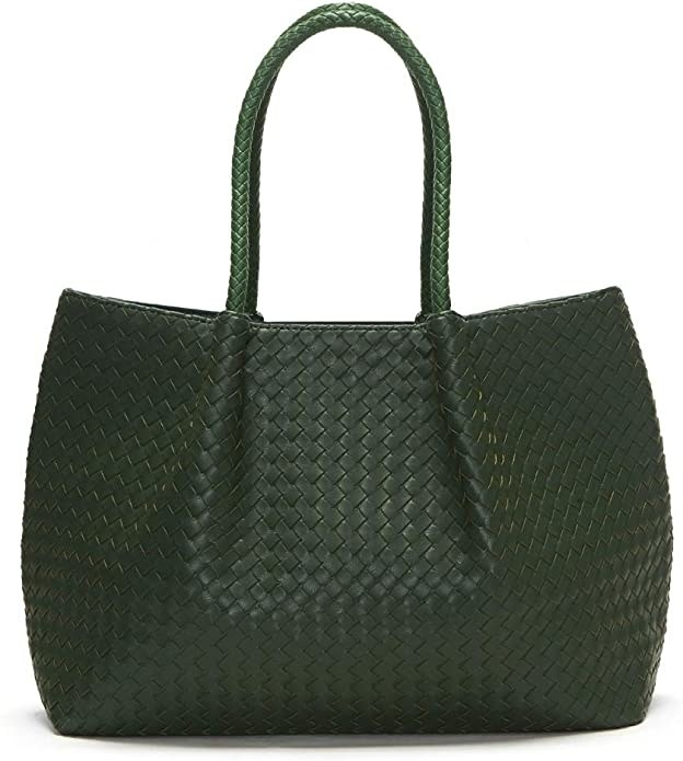 Tote bag in green with woven pattern throughout and woven shoulder straps