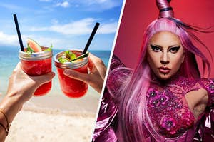 Two people drinking tropical drinks with Lady Gaga in hot pink beside them