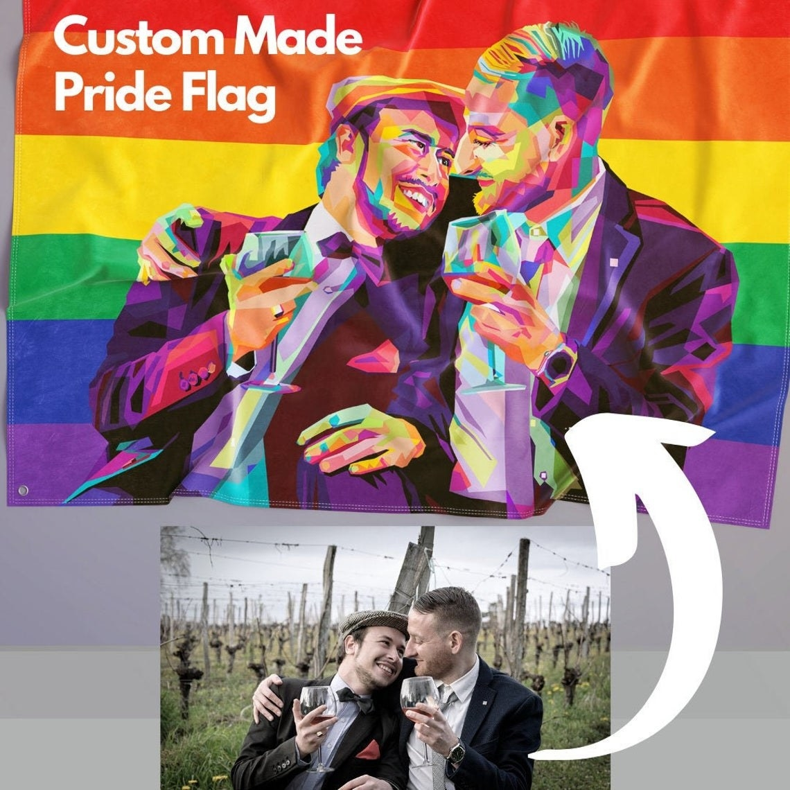 A classic rainbow pride flag with a multi-colored couple on the front. The image shows the picture of a couple used for reference when making the flag.