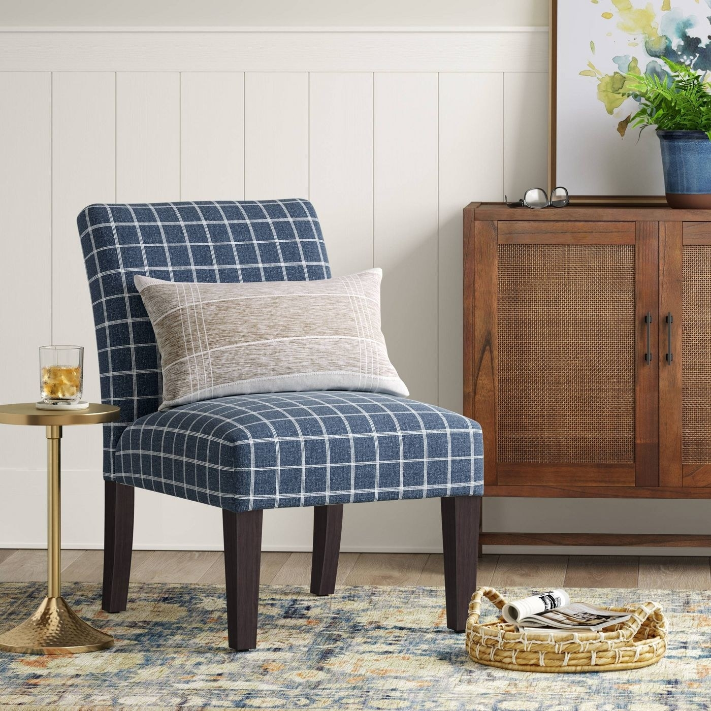 the blue and white checkered chair