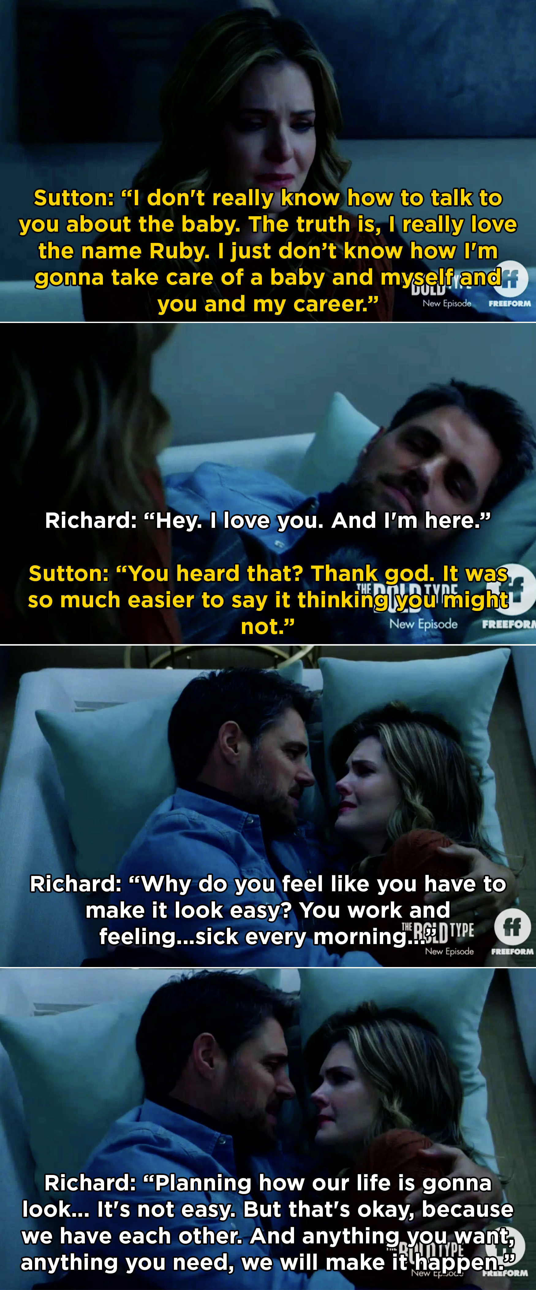 Richard telling Sutton she doesn't have to be perfect at everything and he will be here to help whenever she needs it