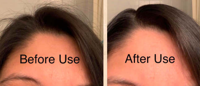 "On the left, the top of a reviewer's hair with lots of flyaways, with the text ""Before Use."" On the right, the same reviewer's hair looking super smooth, like it had just been flat-ironed, with the text ""After Use"""