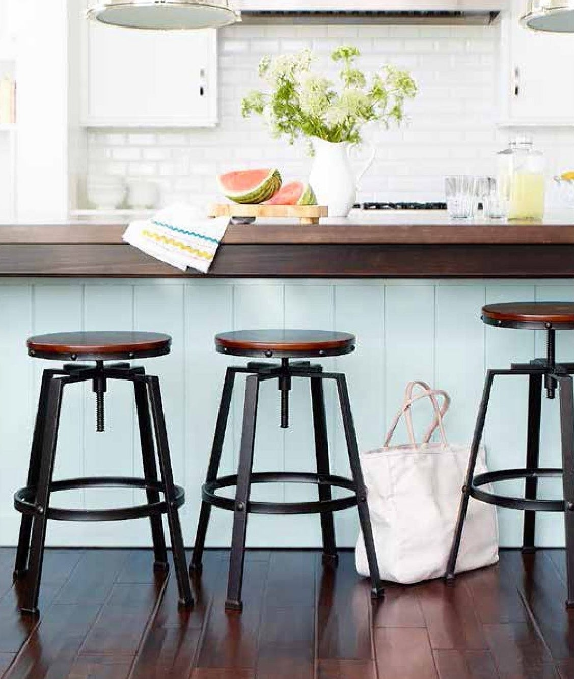 stools with brown seat and black legs