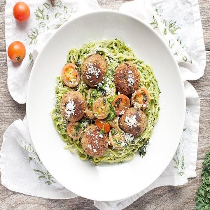 Plant-Based Meatballs with Tuscan Kale and Basil Pesto Spaghetti