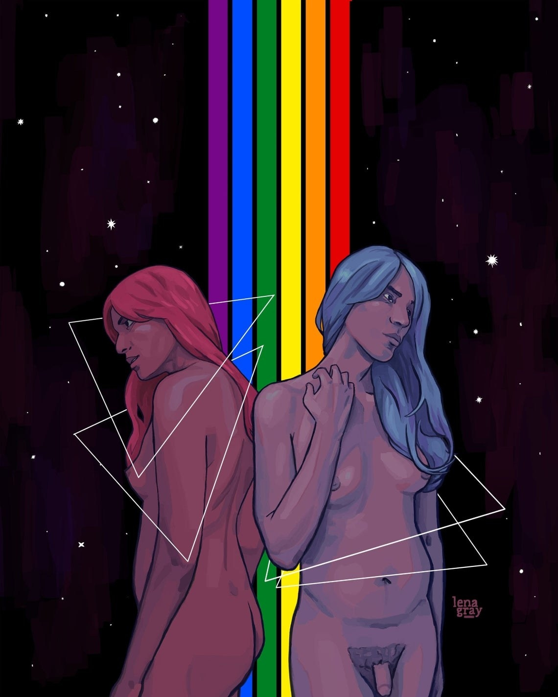 A nude person shown at two angles — from the front and back. They have breasts and a penis, two different colored wigs, and are standing in front of a rainbow stripe, with stars behind them and triangles around them.