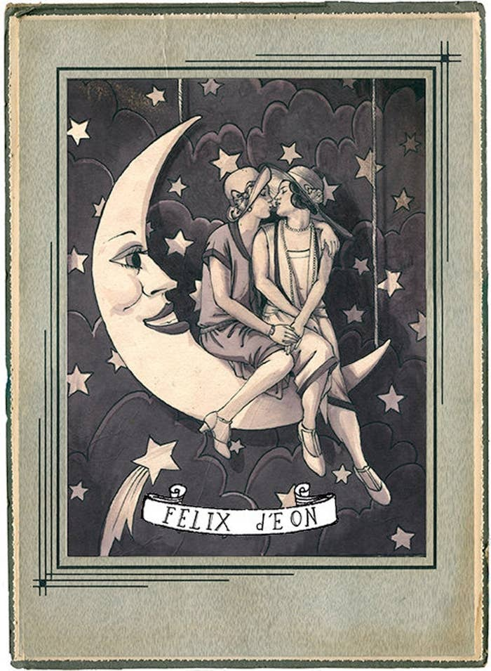 A black and white illustration of a couple in party dresses sitting on a man-in-the-moon cutout and smooching
