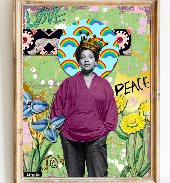 A photo of Audre Lorde surrounded by flowers, text, rainbows, and paint splatters