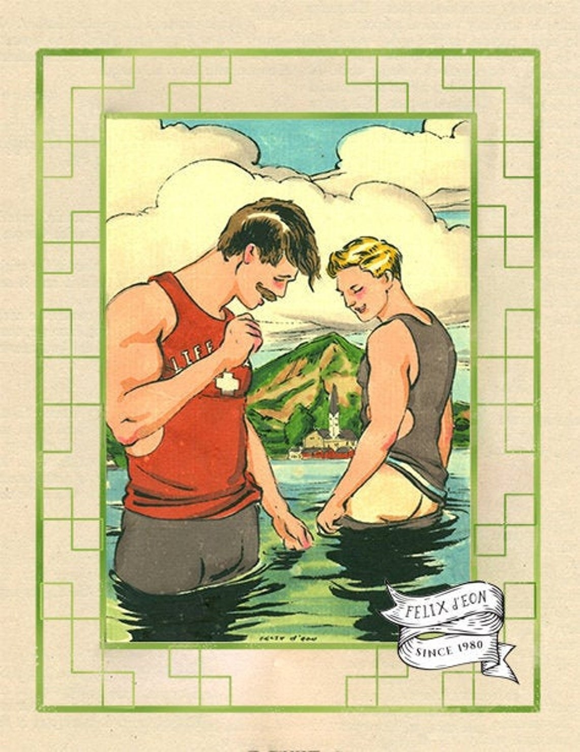 Two people with mustaches, short hair, and wearing vintage male swimsuits admiring each other's bodies in the water and nearly holding hands. There is a mountain and village in the background.