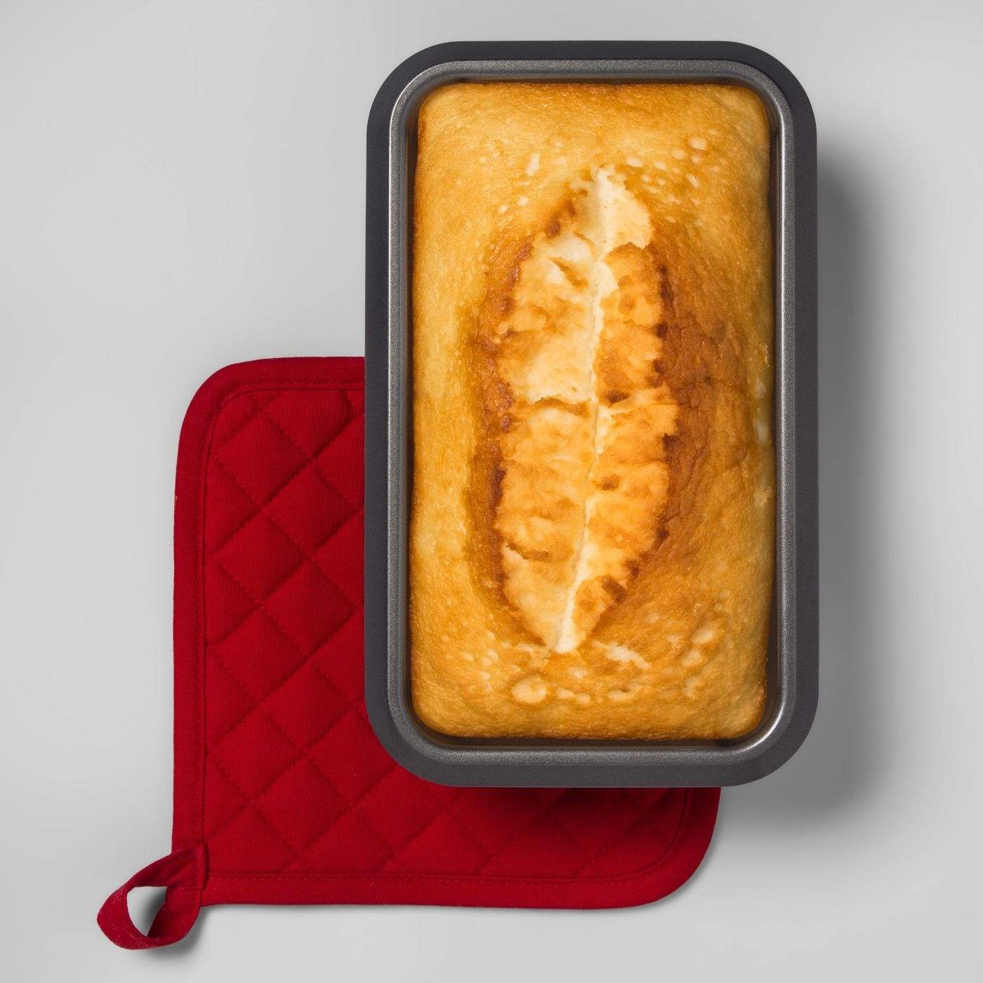 banana bread in the silver loaf pan