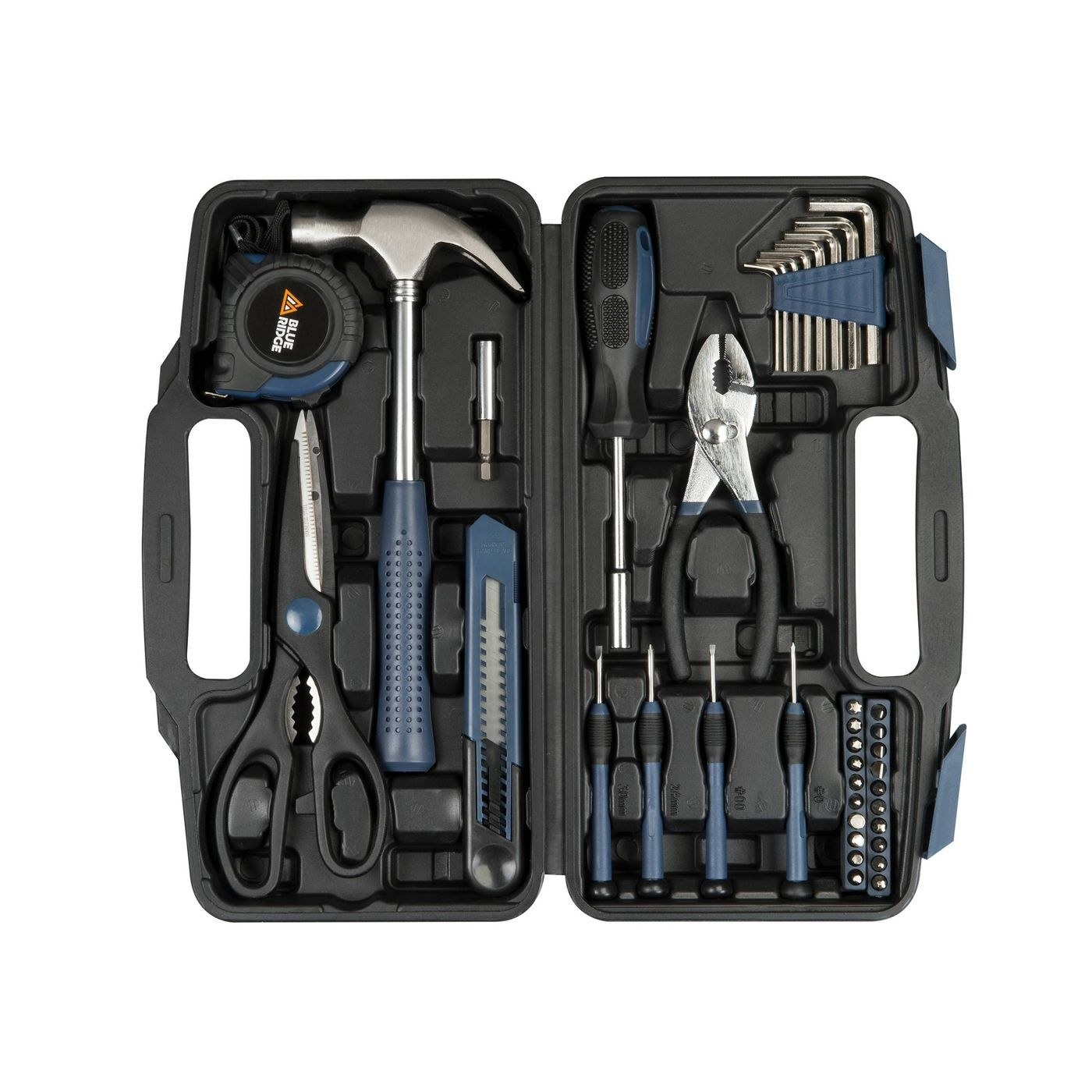 A black plastic case filled with blue tools like a hammer, pliers, screwdriver, and more