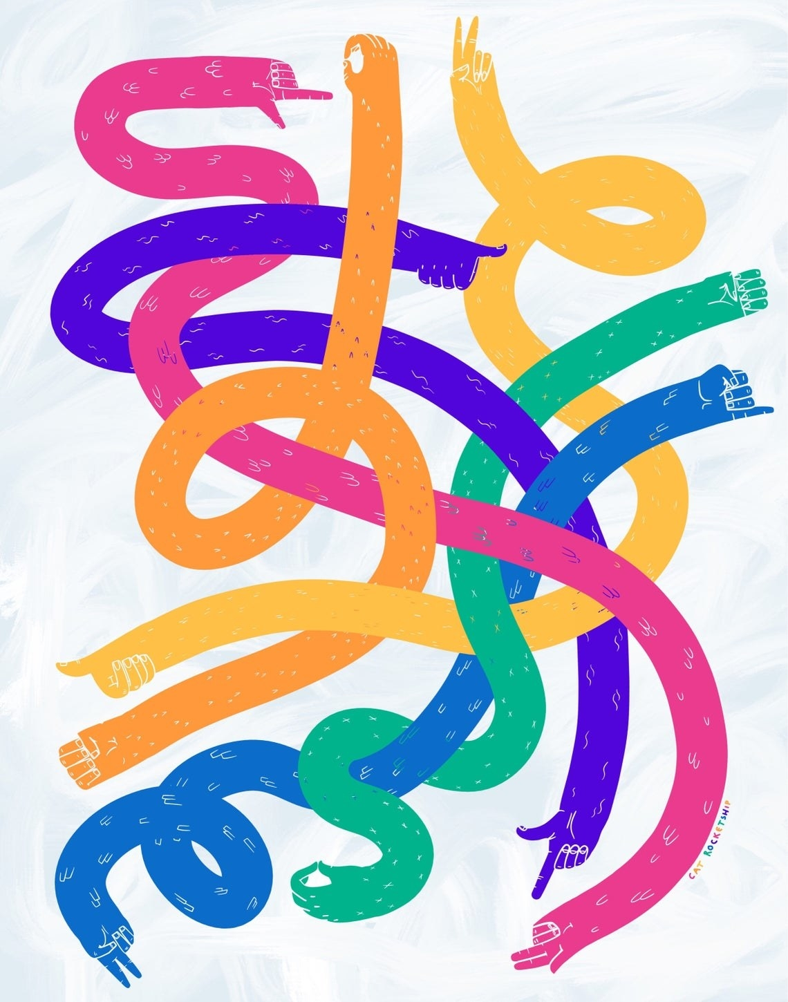 An abstract piece with multicolored arms weaving through each other. The hands on each arm spell the letters L, O, V, E, in American sign language.