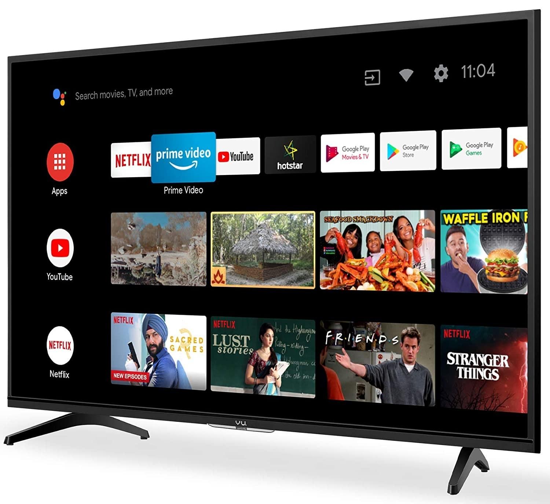A Vu HD Ready UltraAndroid LED TV in black.