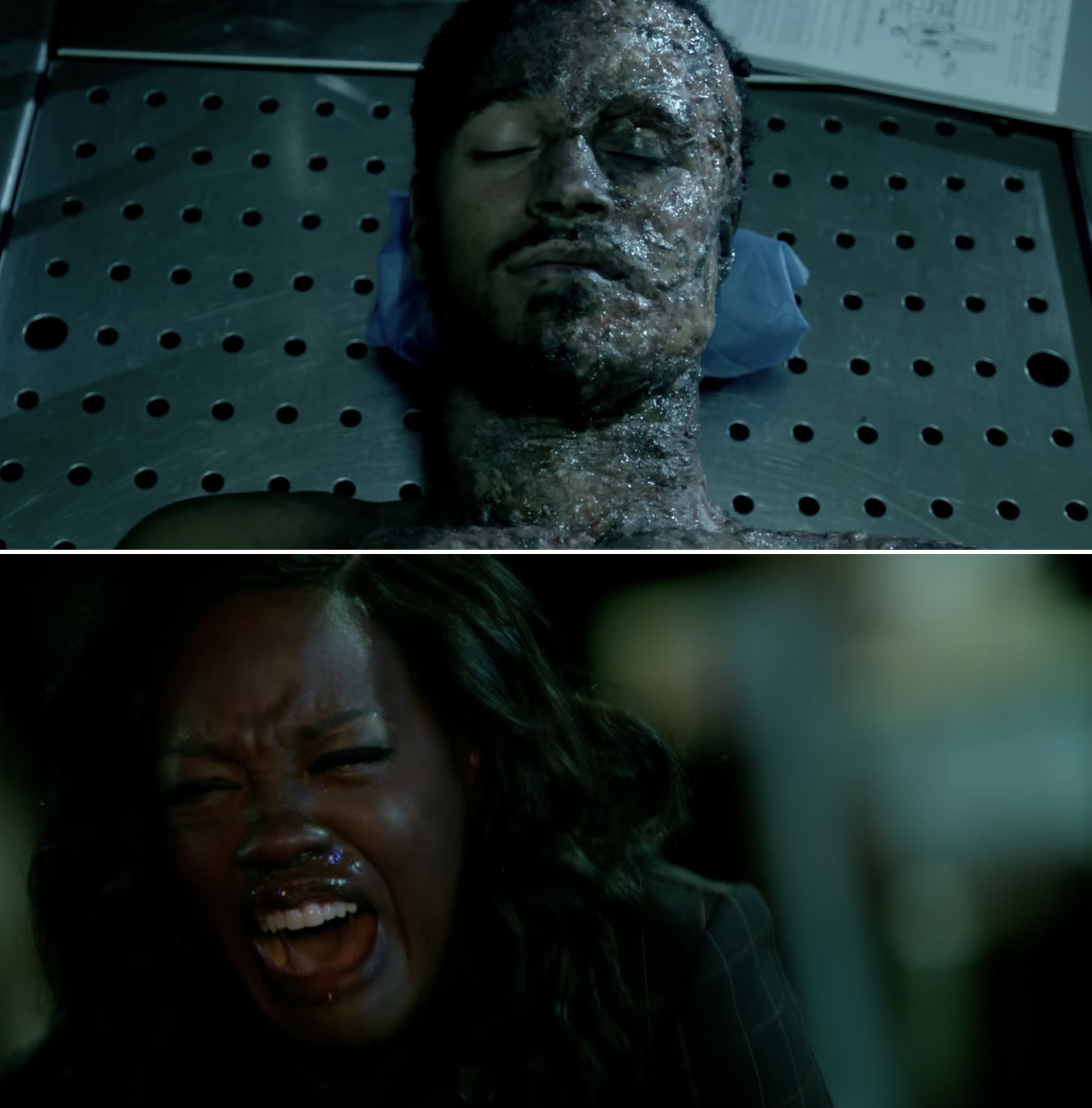 Wes' dead body and Annalise screaming