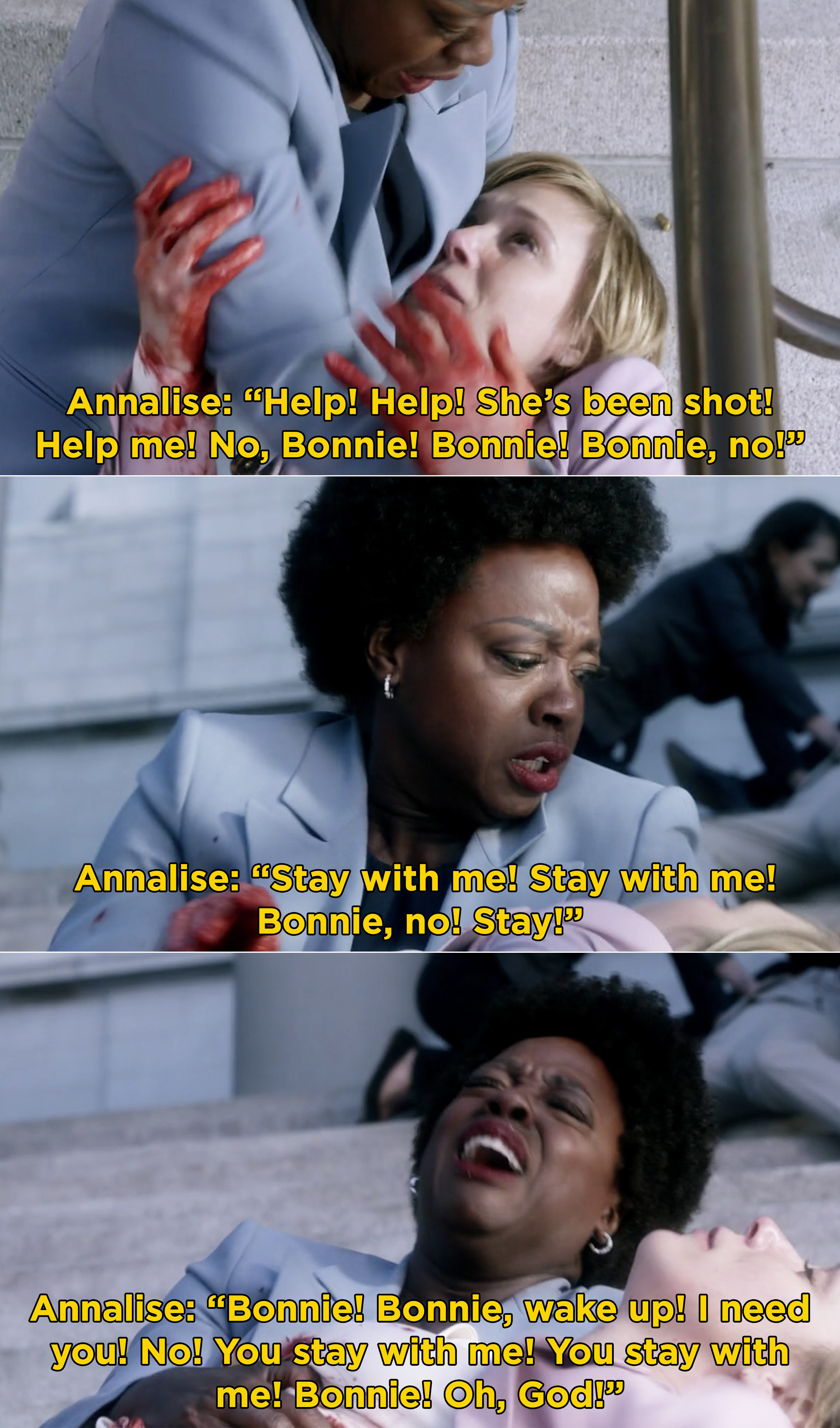 Annalise trying desperately to save Bonnie after she's shot