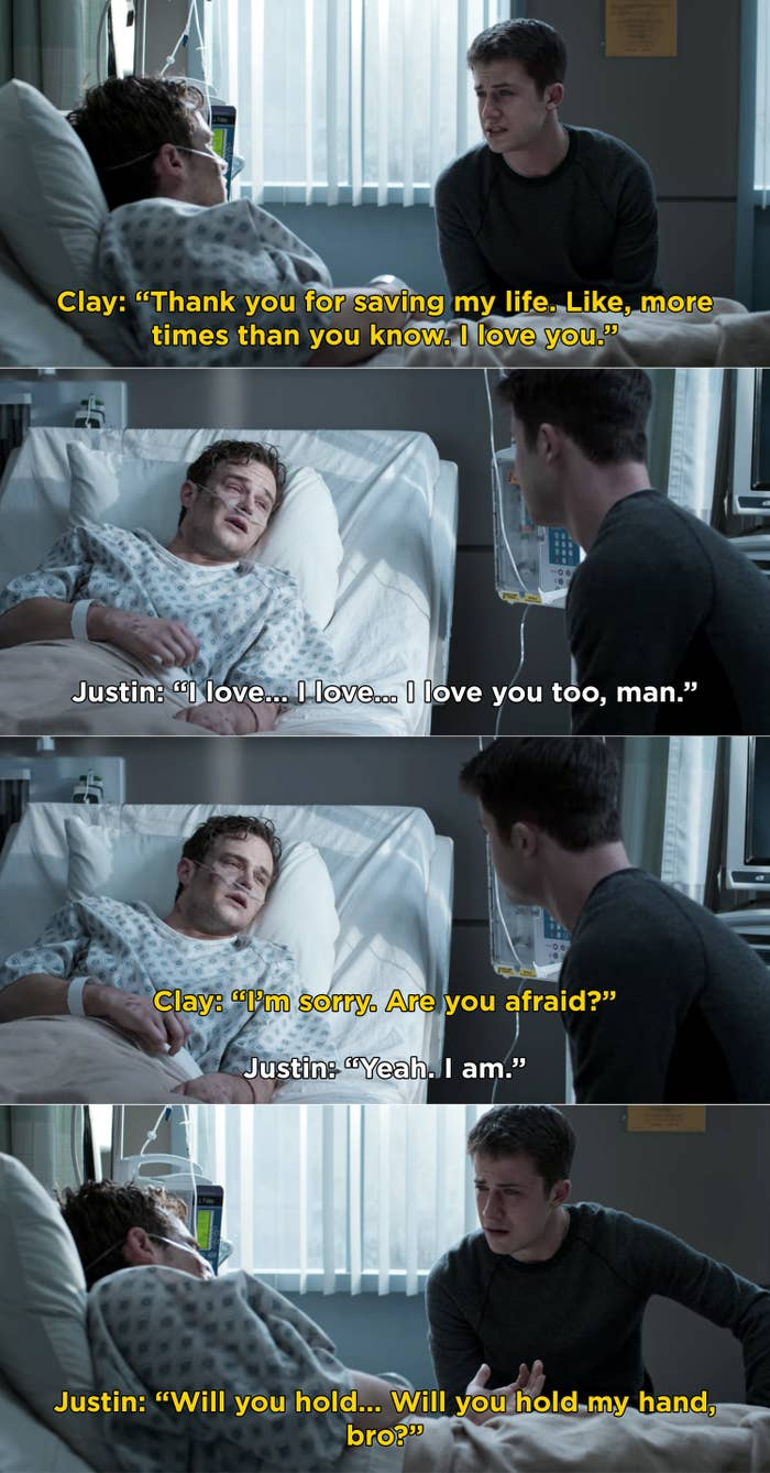 Justin asking Clay to hold his hand right before he died